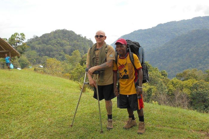 Homecoming for Defence Force veteran with one leg after Kokoda Track trek