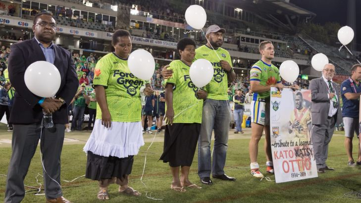 NRL: Ahulo Ottio thanks the Canberra Raiders for emotional tribute to Kato Ottio