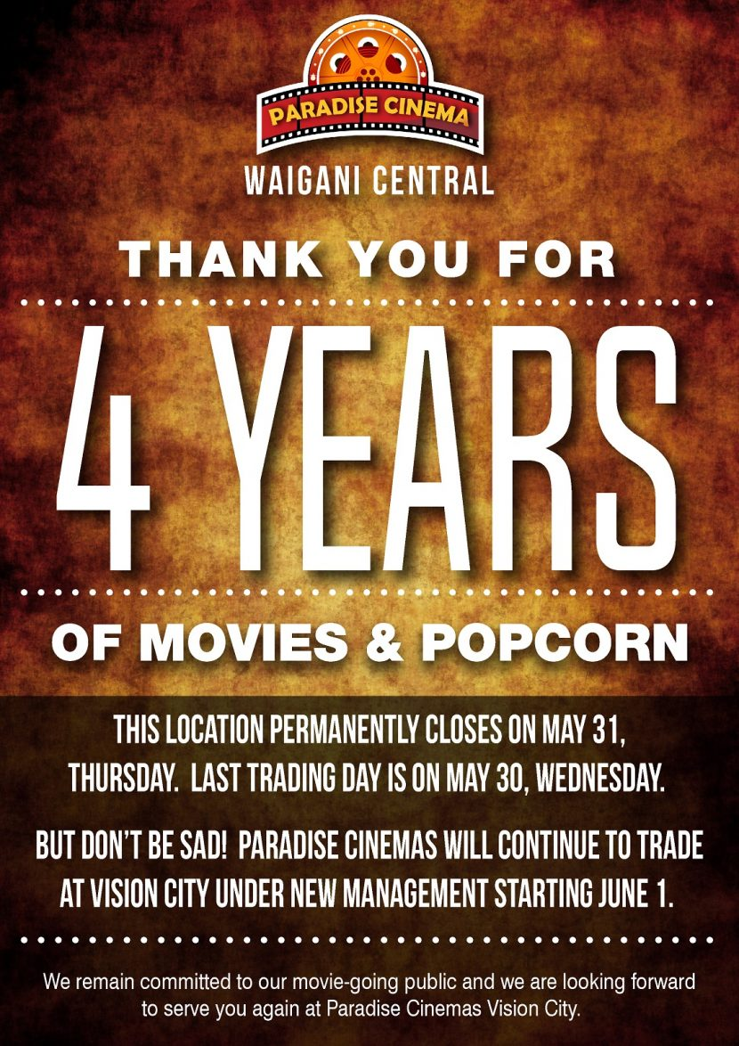 Paradise Cinema Waigani Central  closed down officially